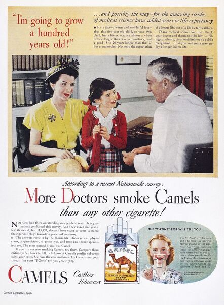 camel cigarette ad 1946 more doctors smoke camels than any other cigarette