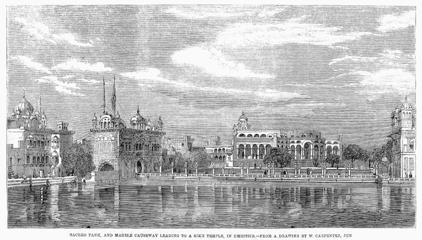 INDIA: GOLDEN TEMPLE, 1858. /nView of the sacred tank and marble causeway leading to the Golden Temple in Amritsar, Punjab, India. Line engraving, English, 1858