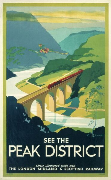 Poster produced by London, Midland & Scottish Railway (LMS) to promote rail travel to the Peak District. The poster shows a bird's-eye view of a train crossing a bridge over a river, with a landscape of green peaks stretching out in the distance