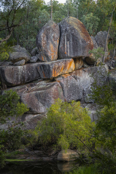 Granite boulders along edge of river. Kwiambal National Park, northern New South Wales, Australia