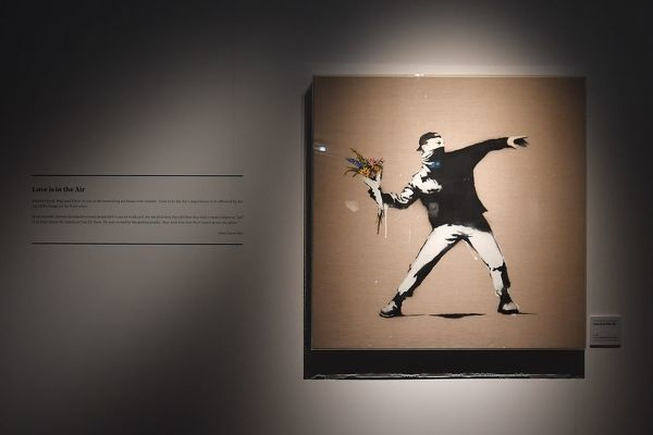 An art piece by Banksy is seen during a media preview of The Art Of Banksy at Moore Park's Entertainment Quarter in Sydney, Thursday, September 12, 2019. The Art Of Banksy, the world's largest touring collection of Banksy's works