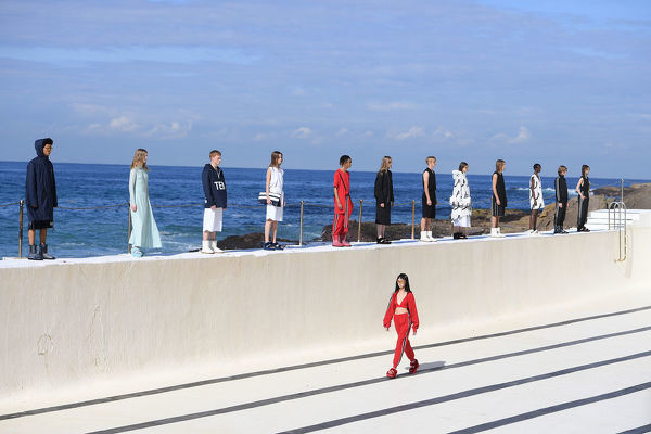 Models present creations by Ten Pieces during Mercedes-Benz Fashion Week Australia at Bondi Icebergs in Sydney, Thursday, May 16, 2019. (AAP Image/Dan Himbrechts), EDITORIAL USE ONLY