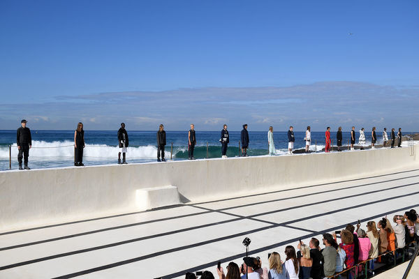 Models present creations by Ten Pieces during Mercedes-Benz Fashion Week Australia at Bondi Icebergs in Sydney, Thursday, May 16, 2019. (AAP Image/Dan Himbrechts) NO ARCHIVING, EDITORIAL USE ONLY