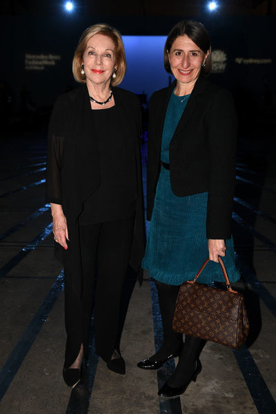 ABC Chair Ita Buttrose and NSW Premier Gladys Berejiklian attend the Carla Zampatti show during Mercedes-Benz Fashion Week Australia in Sydney, Thursday, May 16, 2019. (AAP Image/Dan Himbrechts) NO ARCHIVING, EDITORIAL USE ONLY