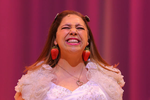 Natalie Abbott as Muriel Heslop performs during a media call for Muriel's Wedding the Musical at the Sydney Lyric Theatre in Sydney, Tuesday, July 2, 2019. Muriel's Wedding the Musical opens at the Sydney Lyric Theatre on July 4 for a 10-week season