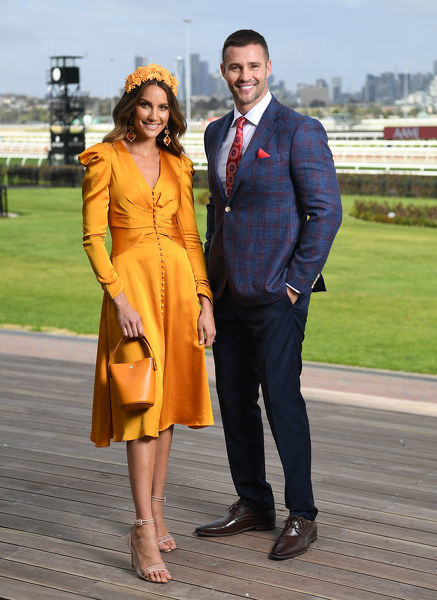 Myer Ambassadors Rachael Finch (left) and Kris Smith are seen at Myer Spring Fashion Lunch at Flemington Racecourse in Melbourne, Thursday, September 12, 2019. (AAP Image/Julian Smith) NO ARCHIVING