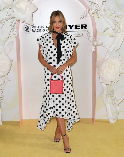 Olivia Molly Rogers is seen at the Myer Spring Fashion Lunch at Flemington Racecourse in Melbourne, Thursday, September 12, 2019. (AAP Image/Julian Smith) NO ARCHIVING