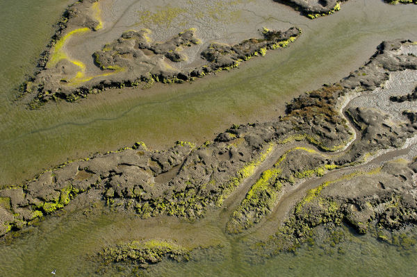 Aerial view of low tide in Sado estuary, Portugal. November