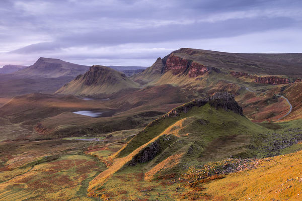 The Quiraing in morning light, eastern face of Meall na Suiramach, the northernmost summit of the Trotternish on the Isle of Skye, Scotland, UK. November 2017