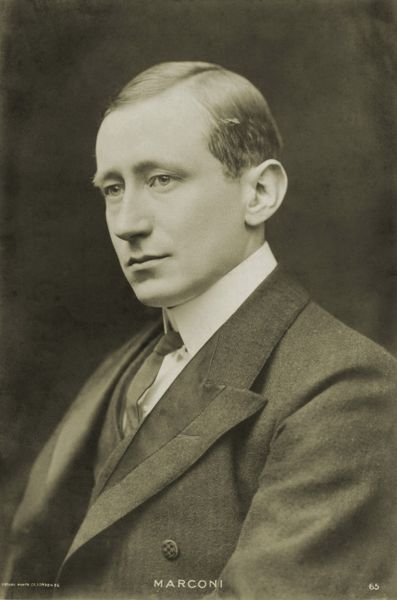 Guglielmo Marconi - portrait - inventor of first system of wireless telegraphy - basis for the telephone. Italian inventor 25 April 1874 - 20 July 1937