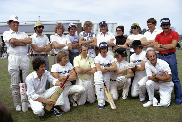 BRANDS HATCH, UNITED KINGDOM - JULY 20: Team photo for the annual charity cricket match.   Back row (L to R): Ken Tyrrell, John Watson, Guy Edwards, Mike Hailwood, James Hunt, Graham Hill, Patrick Depailler, Peter Gethin, David Purley
