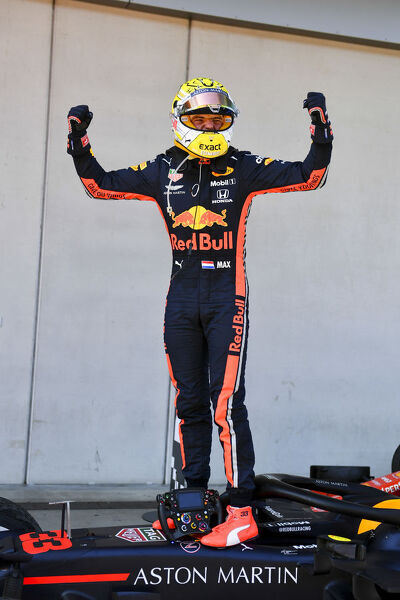 RED BULL RING, AUSTRIA - JUNE 30: Max Verstappen, Red Bull Racing celebrates in Parc Ferme during the Austrian GP at Red Bull Ring on June 30, 2019 in Red Bull Ring, Austria. (Photo by Mark Sutton / Sutton Images)
