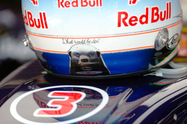 Spa-Francorchamps, Spa, Belgium.   Friday 21 August 2015.   Honey Badger logo on the helmet of Daniel Ricciardo, Red Bull Racing.   World Copyright: Alastair Staley/LAT Photographic.   ref: Digital Image _R6T2682