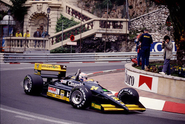 1988 Monaco Grand Prix.  Monte Carlo, Monaco.  12-15 May 1988.  Luis Perez Sala (Minardi M188 Ford) at Loews Hairpin.  Ref-88 MON 77.  World Copyright - LAT Photographic
