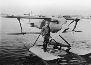 James Doolittle on the float of his Curtiss R3C racer, 1925