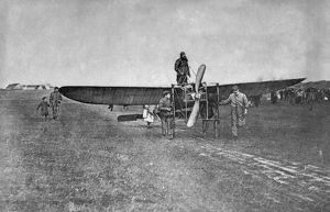 Louis Bleriot in his Bleriot XI starting his cross channel fligh