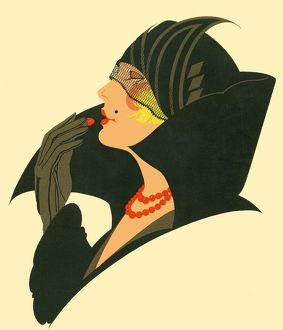 Art Deco lady with lipstick