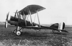 British BE 12 biplane on an airfield, WW1