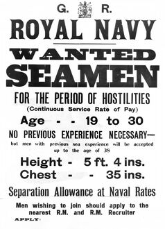 British Royal Navy recruitment poster, WW1