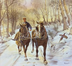 Driving two horses down a snowy lane