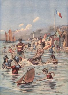 French seaside bathing scene