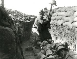 Irish soldier in a trench, Mesopotamia, WW1