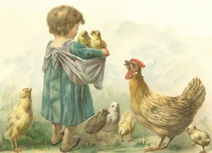 Little girl with chicks