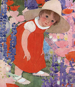 Little girl playing in a garden by Muriel Dawson