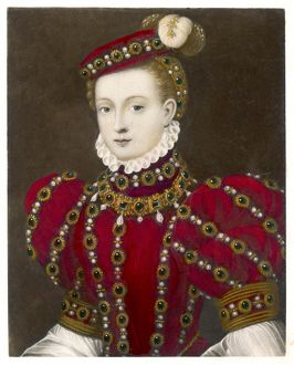 Mary, Queen of Scots in a red costume