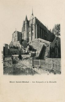 Mont Saint Michel, France - Ramparts and Merveille