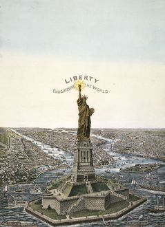 New York. Bartholdi Statue of Liberty, erected on Bedloe's I