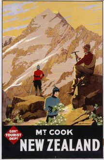 Poster advertising Mount Cook, New Zealand