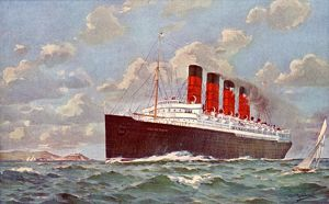 RMS Mauretania steamship, a Cunard liner, at sea