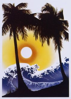 Tsunami wave and tropical paradise - Evening