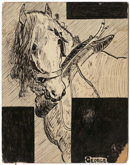War Horse - illustration on postcard by George Ranstead