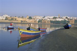 Boats at Sale with the skyline of the city of Rabat in background