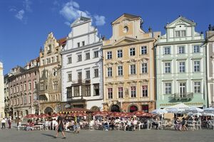Cafes and gabled buildings on the Old Town Square in Prague, Czech Republic, Europe