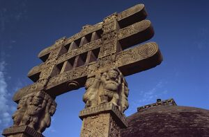 One of the four carved toranas (gateways) at Stupa One, Sanchi, UNESCO World Heritage Site