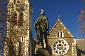 Cathedral and statue of John Robert Godley (founder of Canterbury)