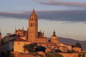 The Cathedral from the west at sunset at Segovia