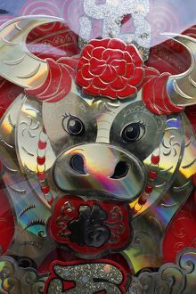 Chinese New Year float for the year of the buffalo, Macao, China, Asia