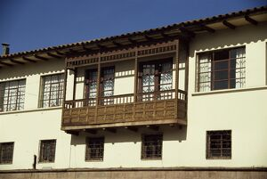 Close-up of balconies on colonial buildings in the