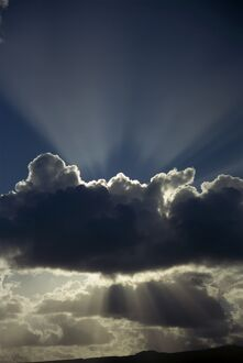 Cloud with silver lining and sunrays over Lanzarote, Canary Islands, Spain, Europe