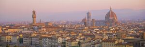Dawn over Florence showing the Duomo and Uffizi
