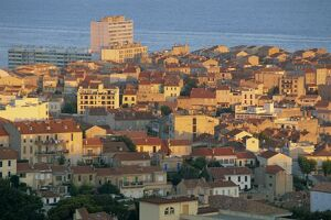 Dense housing seen from Basilica of Notre Dame de la Garde at sunrise, Marseille