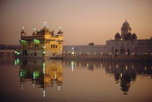 Dusk over the Holy Pool of Nectar looking towards the