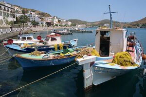 Fishing boats in the harbor at Skala on Patmos