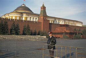 Guard in Red Square, before the Kremlin and Lenin's Tomb, Moscow, Russia, Europe