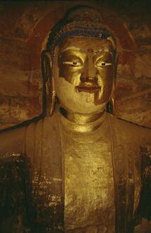 Head of large Buddha statue in Cave No. 5, Northern Wei dynasty, dating from circa 470AD