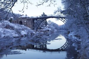 Ironbridge Gorge and River Severn in evening, winter, UNESCO World Heritage Site